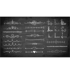 set doodle sketch decorative dividers vector image