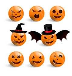 set halloween scary pumpkins flat style spooky vector image