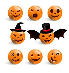 Set halloween scary pumpkins flat style spooky vector