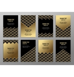 Set of cards gold on the black Business plates vector image