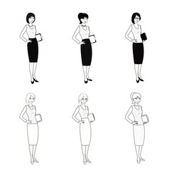 Set of character business woman in black-white vector