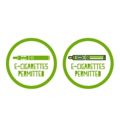 Set of electronic cigarettes permitted sign icons vector