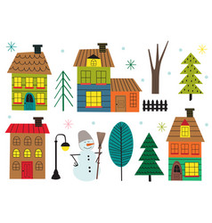 set of isolated houses and tree in winter time vector image