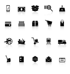 Shipment icons with reflect on white background vector image
