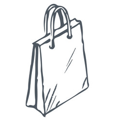 shopping bag with handles monochrome sketch icon vector image