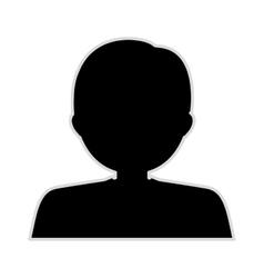 Silhouette half body boy monochrome vector