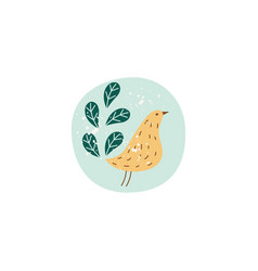 simple cute bird drawing with branch leaves vector image