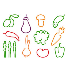 Simple icons vegetables vector