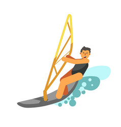 smiling boy rest actively by water kiting isolated vector image
