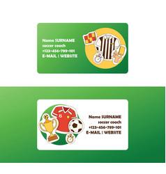 Soccer football business card vector