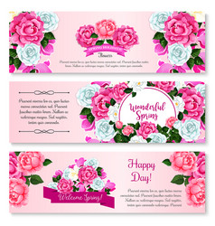 Spring flower bouquet for greeting banner template vector