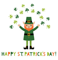 St patricks day greeting card with a leprechaun vector