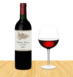 Template of bottle of red wine with glass made in vector