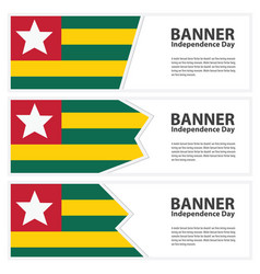 Togo flag banners collection independence day vector
