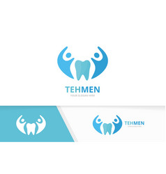 tooth and people logo combination dental vector image