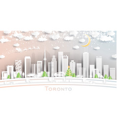 toronto canada city skyline in paper cut style vector image