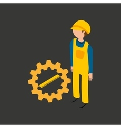 Under construction gear ruler icon vector