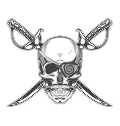 vintage monochrome skull vector image