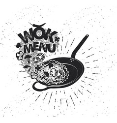 Wok pan asian fast food hand drawn typography vector