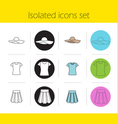 womens clothes icons set vector image