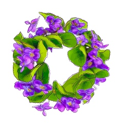 Wreath of woodland violets vector image