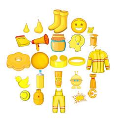 yellow icons set cartoon style vector image