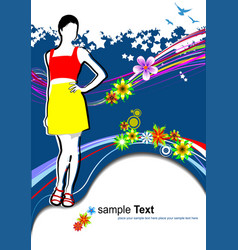 Young woman in red-yellow dress on summer vector