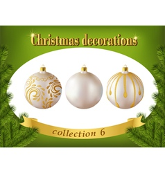 Christmas decorations Collection of white glass vector image vector image