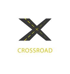 Crossroad icon road sign vector