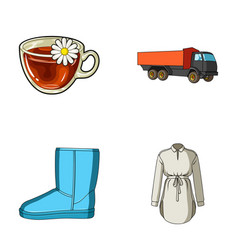 transport shoes and other web icon in cartoon vector image