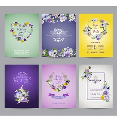 Vintage Pansy Flowers Card Set - for Wedding vector image