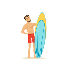 cheerful man standing on the beach with surfboard vector image
