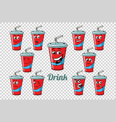 drink cola tube emotions characters collection set vector image vector image