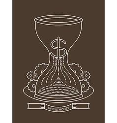 hourglass sand clock with time is money concept vector image