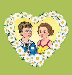 love greeting card kids portrait in heart shape vector image