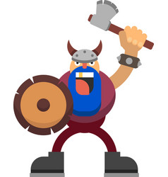 drawing of a viking with an axe and a vector image