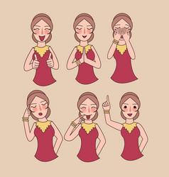 facial expressions set woman girl vector image vector image