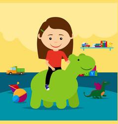 Girl riding rubber toy in kindergarten vector