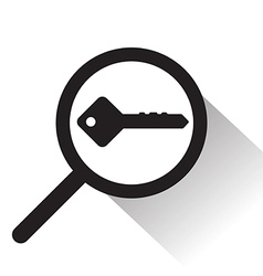 magnifying glass with key icon vector image vector image