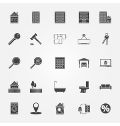 Real estate or interior icons set vector image