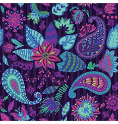 Seamless Floral Pattern with Paisley vector image