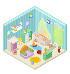 baby room interior isometric vector image