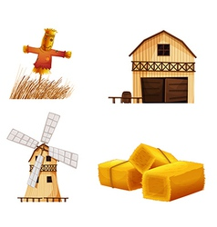 Barn houses hays and a scarecrow vector