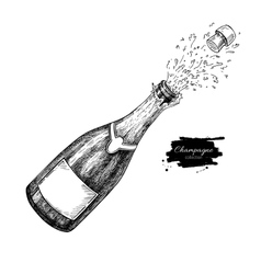 Champagne bottle explosion Hand drawn isolated vector image vector image