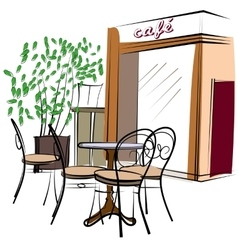 Hand Drawn Paris Cafe vector image