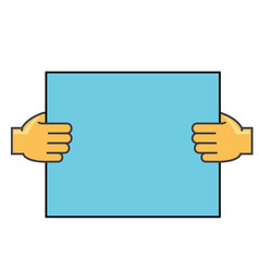 hands holding paper concept line icon vector image vector image