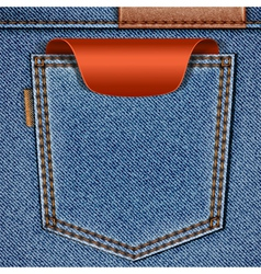 Jeans pocket with price tag vector