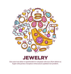 jewelry items collection in round shape on white vector image vector image