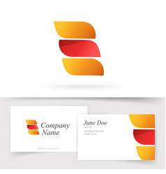 Abstract orange red color logo with 3 gradient vector