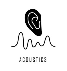 Acoustics glyph icon sound transmission and vector
